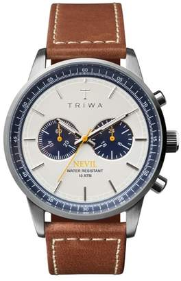 Triwa Ocean Nevil Chronograph Leather Strap Watch, 42mm