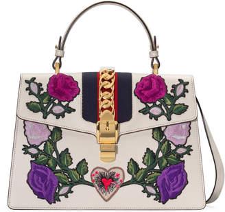 Gucci Sylvie embroidered medium top handle bag