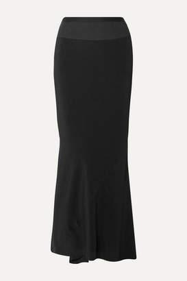 Rick Owens Ribbed Knit-trimmed Crepe De Chine Maxi Skirt - Black