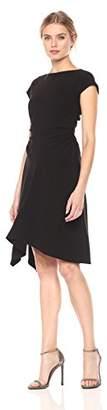 Halston Women's Short Sleeve Wide Boatneck Dress with Waist Gathers