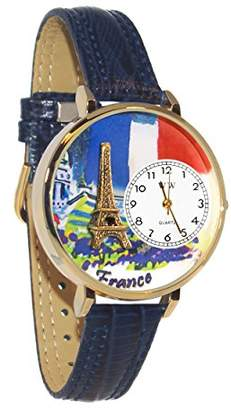 Whimsical Watches Women's G1420006 Unisex France Navy Blue Leather And tone Watch