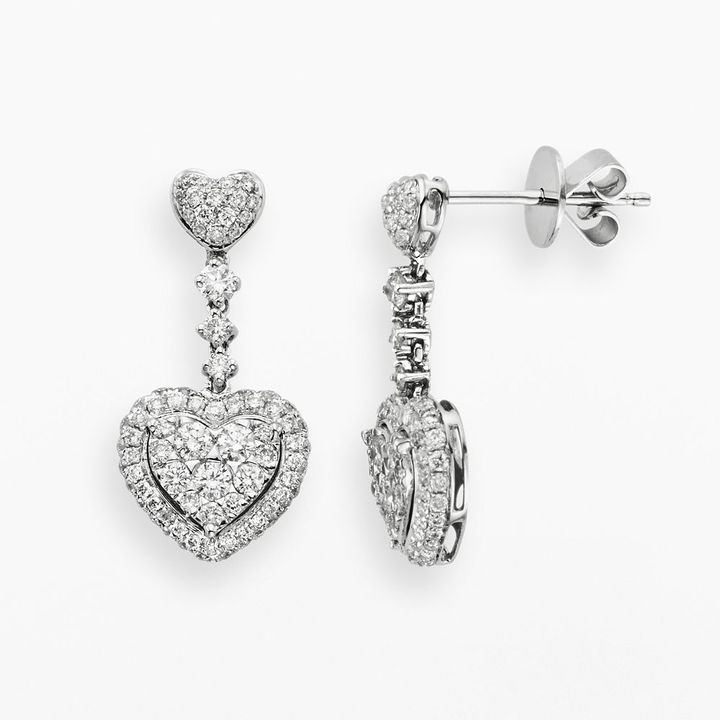 14k White Gold 1-Ct. T.w. Diamond Heart Drop Earrings