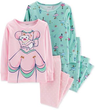 Carter's Baby Girls 4-Pc. Snug-Fit Cotton Princess Pajamas Set