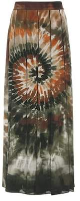 Valentino Printed pleated silk maxi skirt
