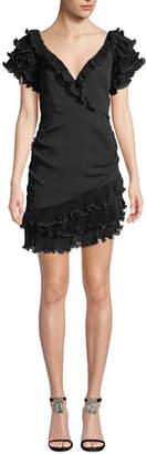 Saylor V-Neck Ruffle-Sleeve Mini Dress w/ Asymmetric Hem