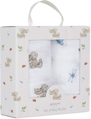 Jellycat Bashful Bunny Muslins (Set of 2)