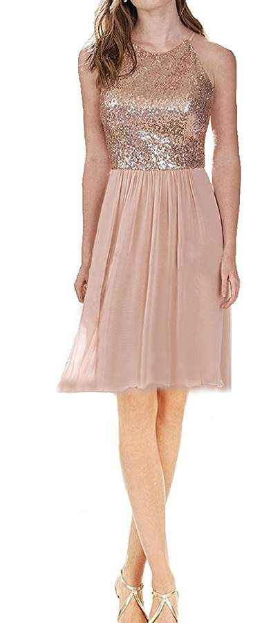Rong store Rongstore Womens Long Bridesmaid Dress Sequin and Chiffon Prom Party Dresses US