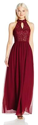 Speechless Junior's Maxi Halter Dress with Front Keyhole
