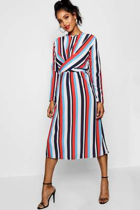 boohoo Wrapped Front Striped Midaxi Dress