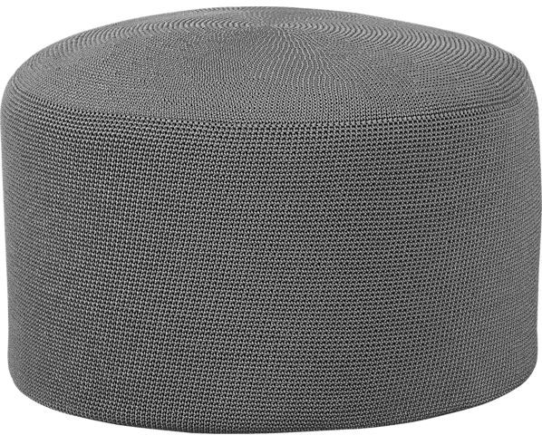 Crate & Barrel Crocheted Graphite Outdoor Pouf
