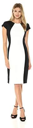 Ronni Nicole Women's Shor Sleeve Color Block Midi Length Sheath
