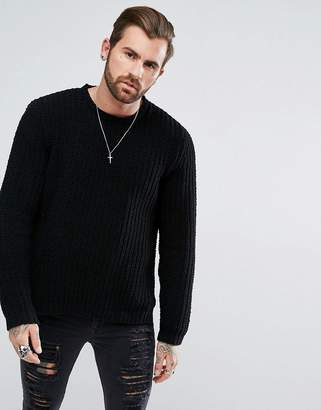 Asos Textured Chenille Jumper In Black With Side Splits
