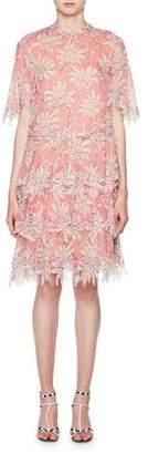Valentino Scalloped Rhododendron Chiffon Dress