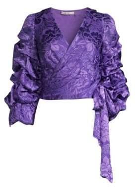 Alice + Olivia Dominica Silk-Blend Puff-Sleeve Wrap Top