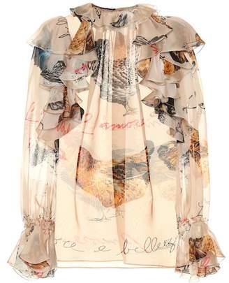 Dolce & Gabbana Hen print silk blouse