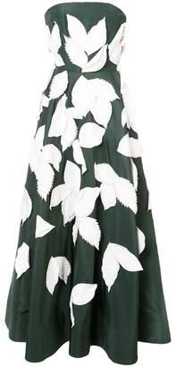 Oscar de la Renta leaf applique dress