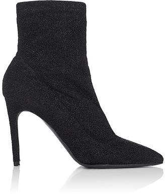 Barneys New York Women's Lula Sock-Style Metallic-Knit Ankle Boots $425 thestylecure.com