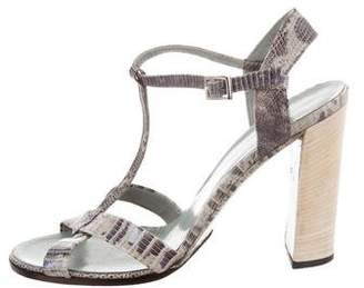 Gucci Embossed Ankle Strap Sandals