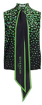 Givenchy Women's Silk Floral Sleeveless Scarf Collar Blouse