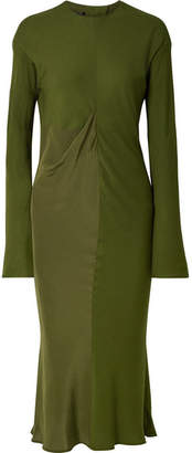 Haider Ackermann Draped Satin-crepe And Jersey Midi Dress - Army green