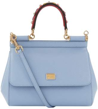 Dolce & Gabbana Small Leather Applique Handle Sicily Bag