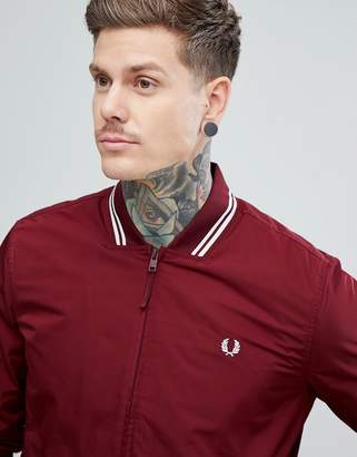 Fred Perry Tipped Bomber Jacket In Burgundy