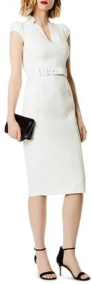Karen Millen Belted Puff-Sleeve Sheath Dress