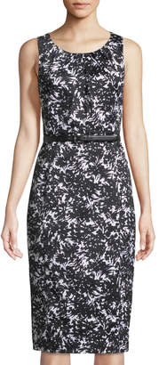 Michael Kors Sleeveless Belted Floral-Sateen Sheath Dress