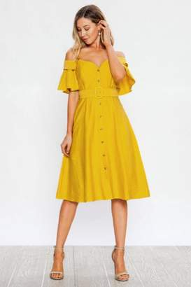 Yellow Fit And Flare Dress - ShopStyle UK aa9190ad3
