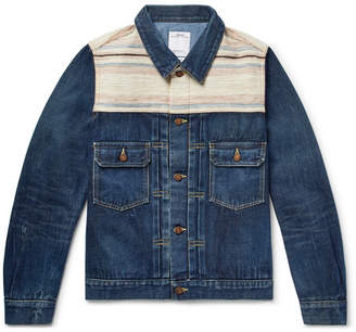Visvim Striped Boucle-Trimmed Denim Jacket - Men - Indigo