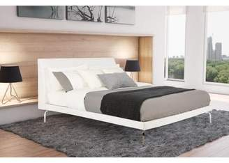 DHP Wilshire Faux Leather Upholstered Bed, Queen Size, White