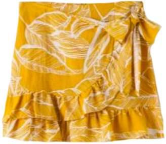 Goodnight Macaroon 'Odell' Leaf Print Wrapped Mini Skirt