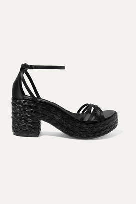 Pedro Garcia Dee Silk-satin And Woven Raffia Platform Sandals - Black