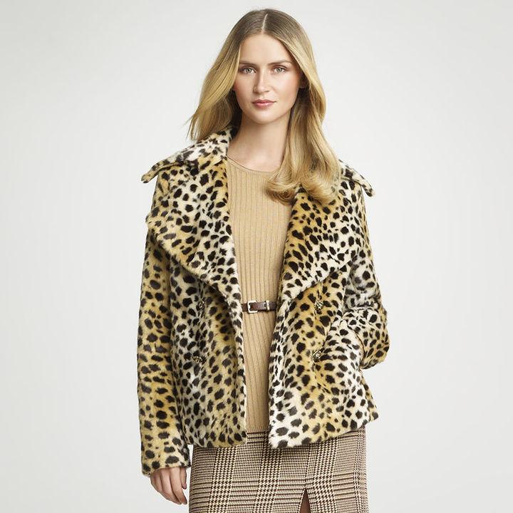 Anne Klein Cheetah Faux Fur Pea coat