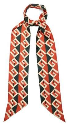 Gucci Geometric Logo Print Silk Twill Scarf - Womens - Green
