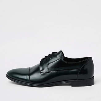 River Island Dark green leather lace-up derby shoes