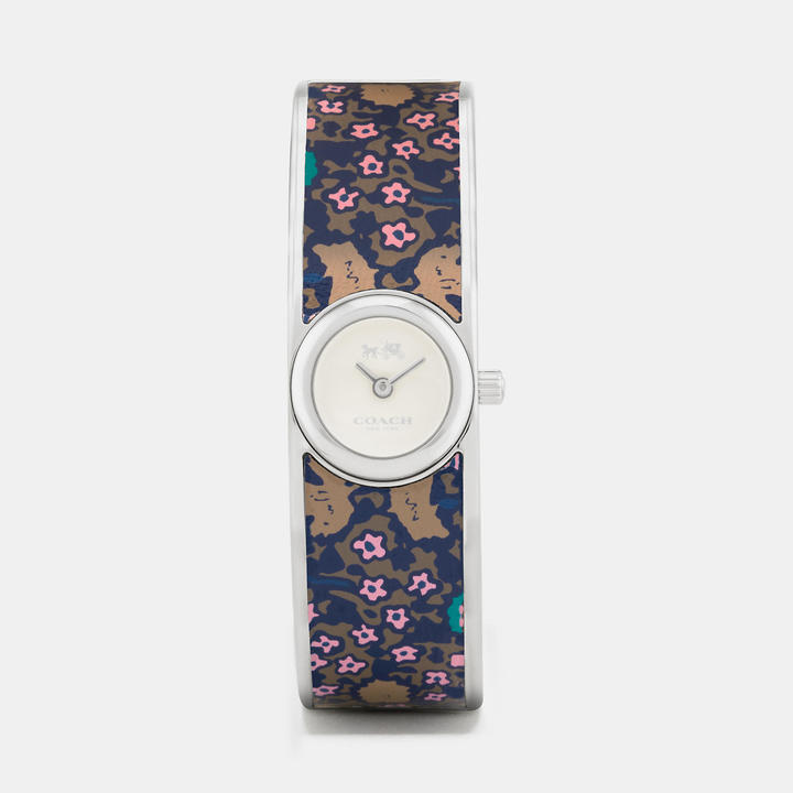Coach   COACH Coach Scout Stainless Steel Printed Leather Inlay Bangle Watch