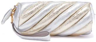 Anya Hindmarch Marshmellow striped leather clutch