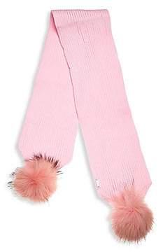 Bari Lynn Fox Fur Pom-Pom Scarf