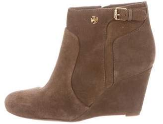 Tory Burch Suede Round-Toe Wedge Booties