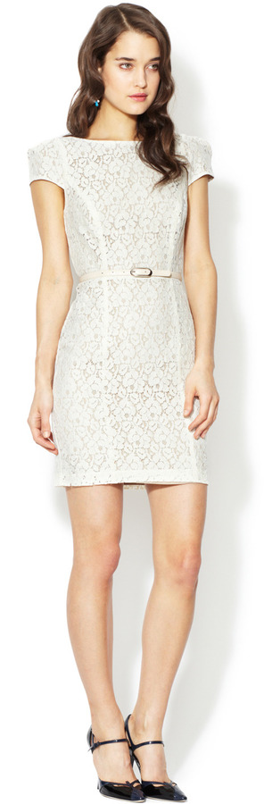Belted Lace Cap Sleeve Dress