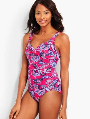Talbots Marina Swim Suit-Pop Paisley