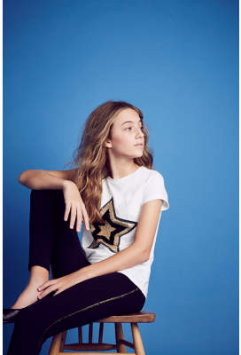 George Sequin Star T-Shirt and Leggings Outfit