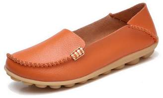 shoppi Size 35-44 Women Casual Flats Vintage Slip On Genuine Leather Loafers Shoes Ladies Casual Shoes