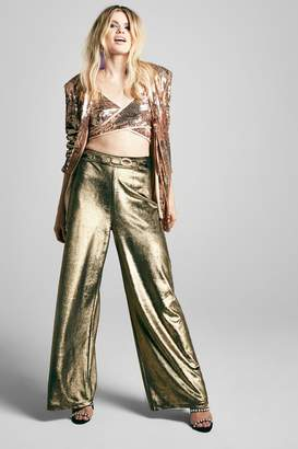boohoo Metallic Velvet Wide Leg Trouser