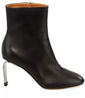 Gucci Clergerie Leather Curve Heel Ankle Boots