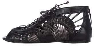Alaia Leather Peep-Toe Sandals