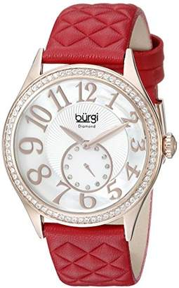 Burgi Women's BUR141RD Round White Mother of Pearl and Silver Dial with Embossed Swirled Center Small Seconds Quartz Strap Watch
