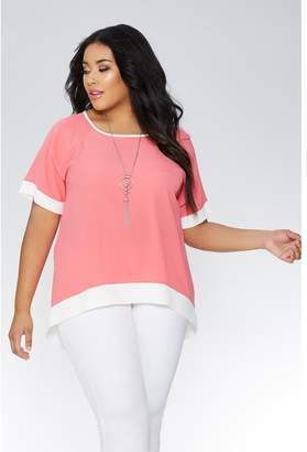 Quiz Curve Coral And Cream Necklace Top