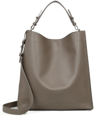 Allsaints Cooper East/west Calfskin Leather Tote - Grey $378 thestylecure.com